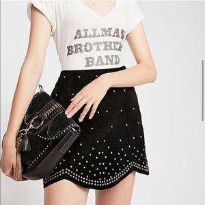 Free People Studded Suede Mini Skirt
